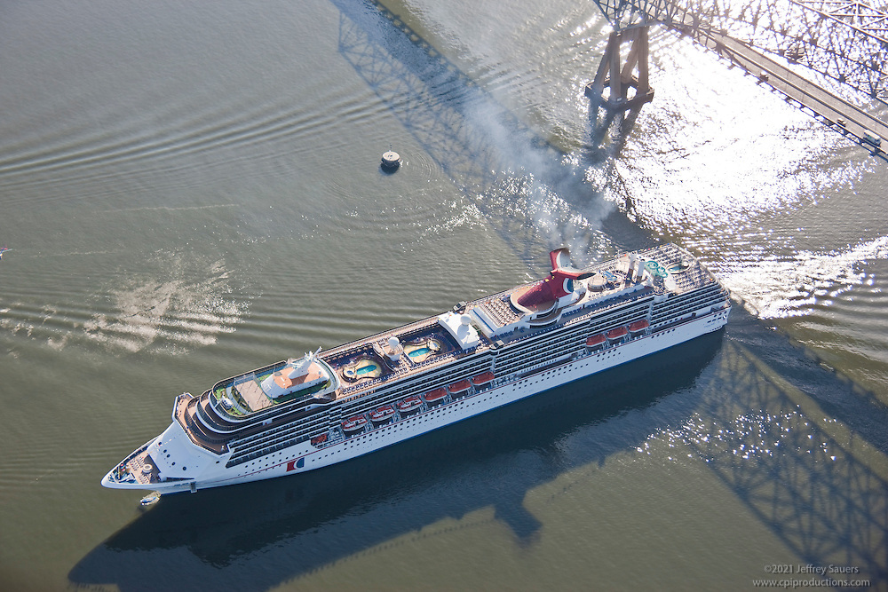 Carnival's Pride in Baltimore, Maryland passing Francis Scott Key Bridge