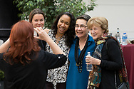 Thaler's wife France Leclerc, right, with Professors Linda Ginzel, second from right, and Heather Caruso, second from left.  (photo by Anne Ryan)