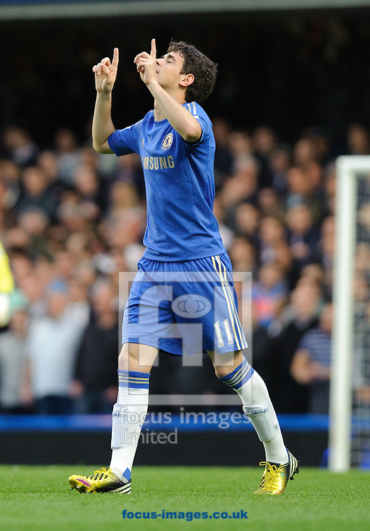 Picture by Gerald O'Rourke/Focus Images Ltd +44 7500 165179.08/05/2013.Oscar of Chelsea celebrates goal during the Barclays Premier League match at Stamford Bridge, London.