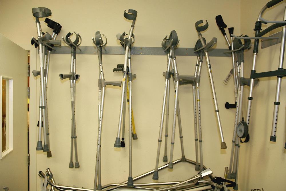 Crutches to aid rehabilitation after surgery, Wellington, New Zealand, June 01, 2007. Credit:SNPA / Rob Tucker