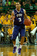 WACO, TX - JANUARY 11: Clyde Smith III #3 of the TCU Horned Frogs brings the ball up court against the Baylor Bears on January 11, 2014 at the Ferrell Center in Waco, Texas.  (Photo by Cooper Neill/Getty Images) *** Local Caption *** Clyde Smith III