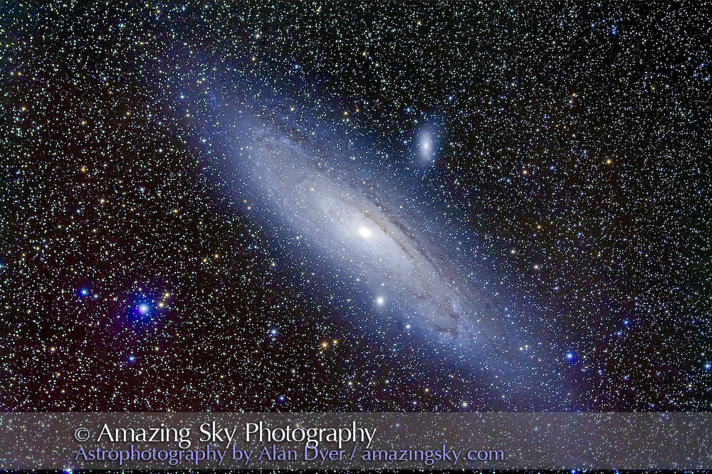 Andromeda Galaxy, M31, with the Lunt 80mm f/7 doublet apo refractor for stack of 5 x 15 minute exposures at ISO 800 with Canon 5D MkII and Borg 0.85x flattener/reducer. Companion galxies, M31 and M110 also shown. Taken from home. Field is roughly 4 x 2.5°.
