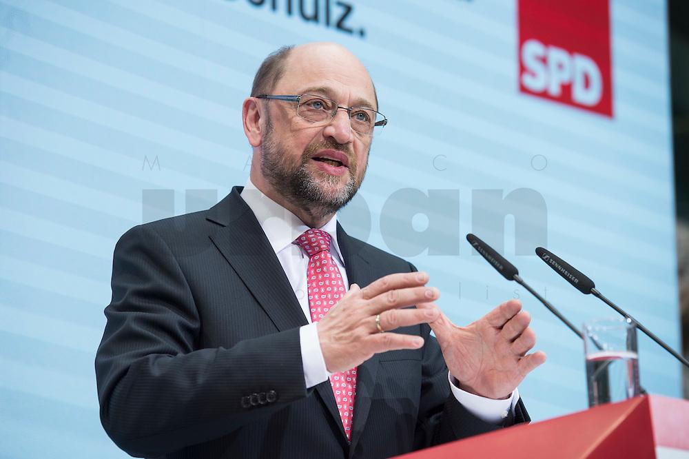 30 JAN 2017, BERLIN/GERMANY:<br /> Martin Schulz, SPD, Kanzlerkandidat und designierter Parteivorsitzender, waehrend einer Pressekonferenz nach der Klausurtagung der SPD Spitze, Willy-Brandt-Haus<br /> IMAGE: 20170130-01-014