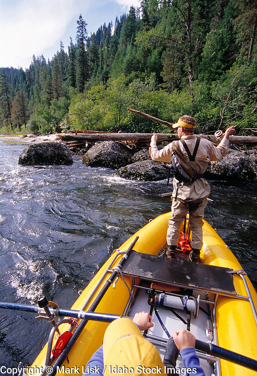 (MR) Fly fishing from a raft on the Lochsa River, Idaho