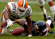 After stripping the ball from Chicago quarterback Kyle Orton, Cleveland's Chris Crocker recovers the fumble yesterday at Cleveland Browns Stadium. The turnover led to Cleveland's second touchdown of the fourth quarter.