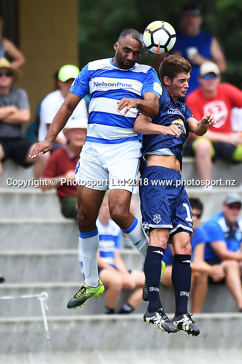 Tasman`s Paul Ifill and Auckland`s Alfie Rodgers during their ISPS Handa Premiership match Tasman Utd v Auckland City FC. Saxton Field, Nelson, New Zealand. Saturday 17 February 2018. ©Copyright Photo: Chris Symes / www.photosport.nz
