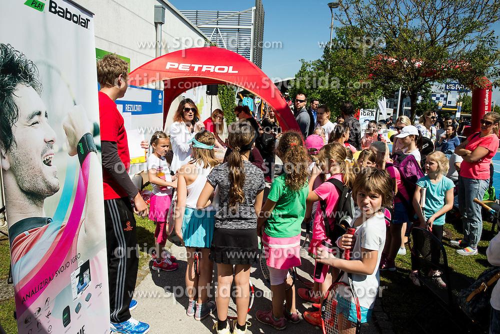 "Fan tennis event for kids named ""Play tennis"" by Tenis Slovenija, on May 21, 2016 in BTC - Millenium centre Ljubljana, Slovenia. Photo by Vid Ponikvar / Sportida"