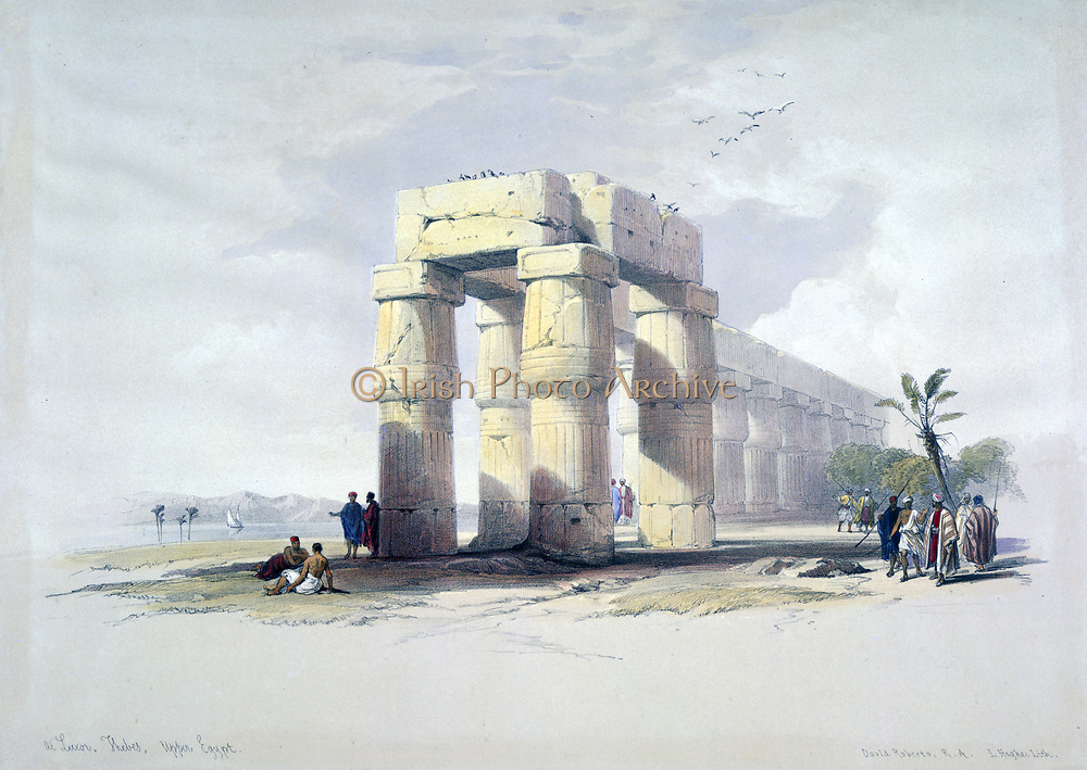 At Luxor, Thebes, Upper Egypt'.; lithograph after watercolour by David Roberts (1796-1864) Scottish artist. Ancient Egypt Archaeology