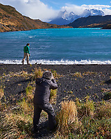 Photographers working Torres del Paine National Park. Image taken with a Fuji X-T1 camera and Zeiss 12 mm f/2.8 lens.