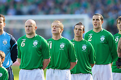 DUBLIN, REPUBLIC OF IRELAND - Saturday, March 24, 2007: Republic of Ireland's Lee Carsley, Damien Duff, Stephen Ireland and John O'Shea line-up before the UEFA European Championships 2008 Group D qualifying match against Wales at Croke Park. (Pic by David Rawcliffe/Propaganda)