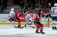 KELOWNA, BC - OCTOBER 12: Jake Poole #23 of the Kelowna Rockets celebrates his first WHL goal against the Kamloops Blazers  at Prospera Place on October 12, 2019 in Kelowna, Canada. (Photo by Marissa Baecker/Shoot the Breeze)