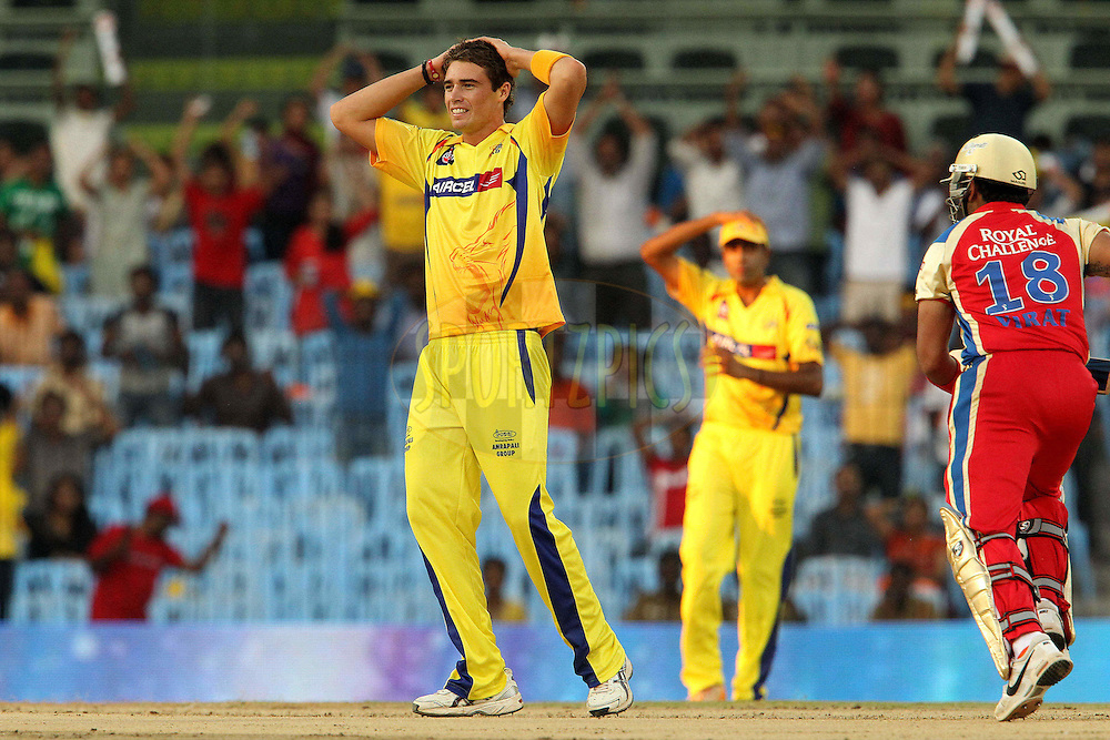 Tim Southee reacts after bowling during match 14 of the Indian Premier League ( IPL ) Season 4 between the Chennai Superkings and The Royal Challengers Bangalore held at the MA Chidambaram Stadium in Chennai, Tamil Nadu, India on the 16th April 2011..Photo by Ron Gaunt/BCCI/SPORTZPICS
