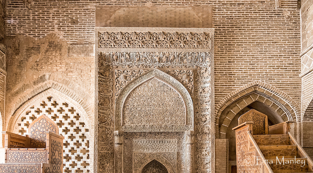 The Jāmeh Mosque of Isfahān is the grand, congregational mosque (Jāmeh) of Isfahān city. The Shabestan of Uljayto with its various brick columns and arches is said to have been constructed in the Muzaffarid era. The 1310 mehrab (altar) is one of the most exquisite monuments of the Ilkanid era. In stucco carved with very fine floral and geometrical patterns, as well as several inscriptions in thululk script and one in kufic.