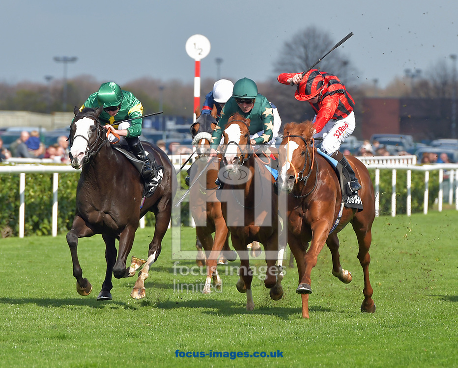 Kool Kompany ridden by Ryan Moore (green with yellow star) wins Betway Doncaster Mile during the Betway Lincoln meeting at Doncaster Racecourse, Doncaster<br /> Picture by Martin Lynch/Focus Images Ltd 07501333150<br /> 01/04/2017