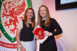 NEWPORT, WALES - Saturday, May 21, 2016: Aimee Watson is presented with her Under-16's cap by Wales player Kayleigh Green at the Celtic Manor Resort. (Pic by David Rawcliffe/Propaganda)