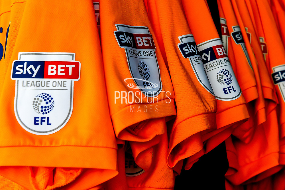 "The Oldham Athletic  team shirts  showing ""Sky Bet"" and ""EFL"" branding  during the EFL Sky Bet League 1 match between Northampton Town and Oldham Athletic at Sixfields Stadium, Northampton, England on 5 May 2018. Picture by Dennis Goodwin."