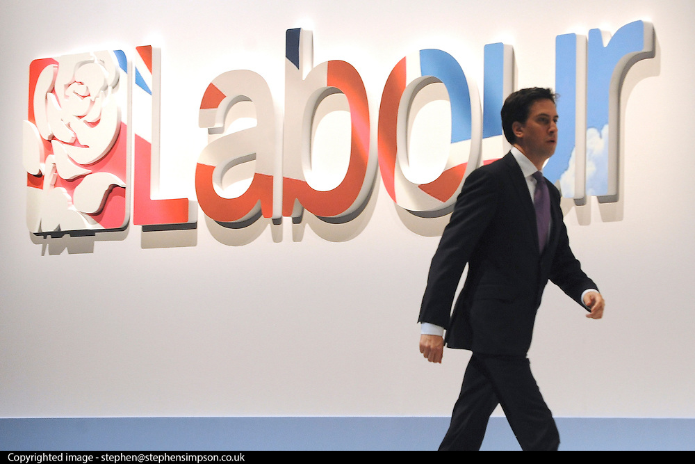 © Licensed to London News Pictures. 28/09/2011. LONDON, UK. Ed Miliband, Leader of The Labour Party walks to the stage at The Labour Party Conference in Liverpool today (28/09/11). Photo credit:  Stephen Simpson/LNP