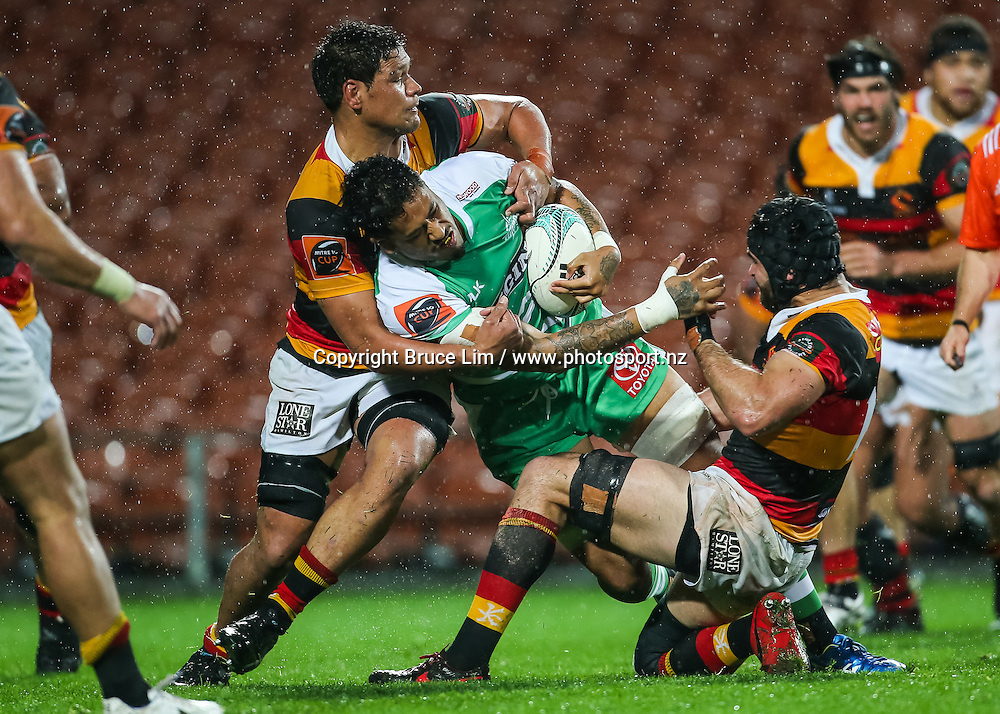 Manawatu replacement Valentino Mapapalangi is tackled by Waikato No.8 Whetu Douglas during round 3 of the Mitre 10 Cup rugby union national provincial championship - Waikato v Manawatu played at FMG Stadium Waikato, Hamilton, New Zealand on Sunday 4 September 2016.  <br /> <br /> Copyright Photo: Bruce Lim / www.photosport.nz
