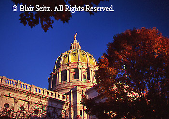 PA Capitol, Fall Season, Autumn Leaves, Joseph, Huston, Architect, Harrisburg, Pennsylvania