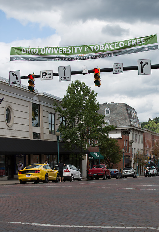 A banner signifying Ohio University as a tobacco-free campus hangs over Court Street on August 25, 2015. Ohio University's tobacco-free initiative went into effect on August 1, 2015. Photo by Emily Matthews