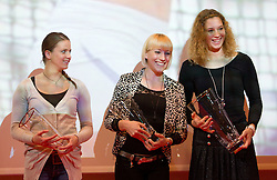 Sara Bercan, Maja Bratkic and Barbara Spiler during the Slovenia's Athlete of the year award ceremony by Slovenian Athletics Federation AZS, on November 12, 2008 in Hotel Mons, Ljubljana, Slovenia.(Photo By Vid Ponikvar / Sportida.com) , on November 12, 2010.