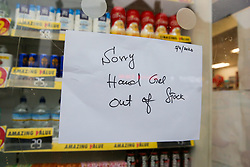 © Licensed to London News Pictures. 05/03/2020. London, UK. A 'Sorry Hand Gel Out of Stock' sign in a window of a Savers store in London amid an increased number of cases of Coronavirus (COVID-19) in the UK. Three more cases were confirmed in Scotland this morning, taking the UK total to ninety. Photo credit: Dinendra Haria/LNP