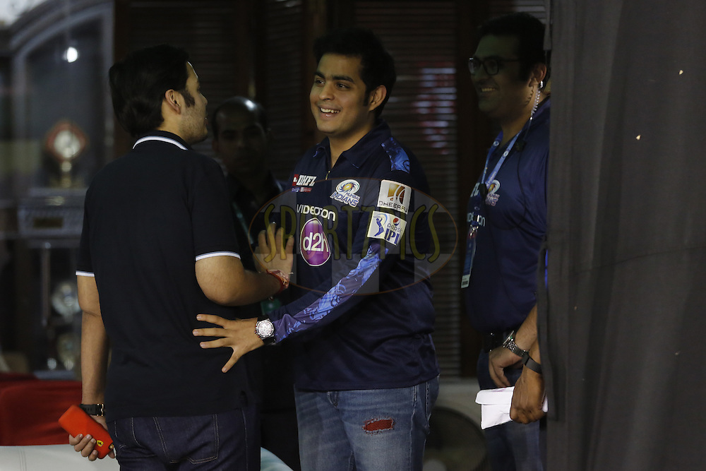 Akash Ambani,Anant Ambani Mumbai Indians owners during match 21 of the Vivo Indian Premier League ( IPL ) 2016 between the Kings XI Punjab and the Mumbai Indians held at the IS Bindra Stadium, Mohali, India on the 25th April 2016<br /> <br /> Photo by Arjun Singh / IPL/ SPORTZPICS
