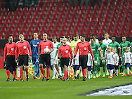 FOOTBALL: The players entering the field prior to the UEFA Europa League round of 32, second leg, match between FC København and PFC Ludogorets Razgrad at Parken Stadium, Copenhagen, Denmark on February 23, 2017. Photo: Claus Birch