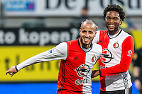 DEN HAAG - ADO Den Haag - Feyenoord , Voetbal , Eredivisie , Seizoen 2016/2017 , Kyocera Stadion , 19-02-2017 , Feyenoord speler Karim El Ahmadi (l) scoort de 1-0 en viert dit met Feyenoord speler Miquel Nelom (r)