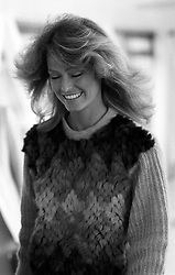 Farrah Fawcett-Majors arriving at Heathrow Airport from Los Angeles.