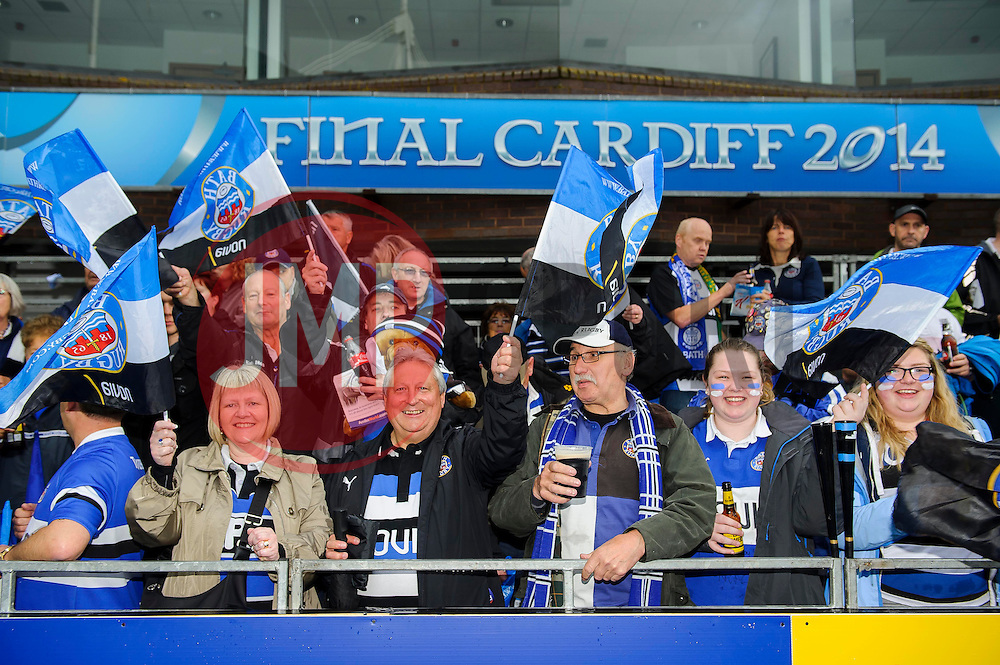 Bath fans take their seats ahead of kick off - mandatory by-line: Rogan Thomson/JMP - Tel: 07966 386802 - 23/05/2014 - SPORT - RUGBY UNION - Cardiff Arms Park, Wales - Bath Rugby v Northampton Saints - Amlin Challenge Cup Final.