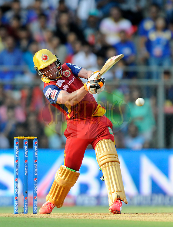 AB De Villiers of Royal Challengers Bangalore bats during match 46 of the Pepsi IPL 2015 (Indian Premier League) between The Mumbai Indians and The Royal Challengers Bangalore held at the Wankhede Stadium in Mumbai, India on the 10th May 2015.<br /> <br /> Photo by:  Pal Pillai / SPORTZPICS / IPL