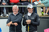 Rory McIlroy, professional golfer, N Ireland, had his father, Gerry McIlroy, as one of his playing partners. 201206270411..Photo taken 27th June 2012 on the first tee, Pro-Am competition, Irish Open Championship, Royal Portrush Golf Club, N Ireland.<br /> <br /> Copyright Image from Victor Patterson, 54 Dorchester Park, Belfast, UK, BT9 6RJ<br /> <br /> t1: +44 28 9066 1296 (from Rep of Ireland 048 9066 1296)<br /> t2: +44 28 9002 2446 (from Rep of Ireland 048 9002 2446)<br /> m: +44 7802 353836<br /> <br /> victorpatterson@me.com<br /> www.victorpatterson.com<br /> <br /> Please see my Terms and Conditions of Use at victorpatterson.com . It is IMPORTANT that you familiarise yourself with them.<br /> <br /> Images used on the Internet incur an additional cost and must be visibly watermarked i.e. ©Victor Patterson within the body of the image and copyright metadata must not be deleted. Images used on the Internet have a size restriction of 4kbs and are chargeable at rates available at victorpatterson.com.<br /> <br /> This image is only available for the use of the download recipient i.e. television station, newspaper, magazine, book publisher, etc, and must not be passed on to any third party. It is also downloaded on condition that each and every usage is notified within 7 days to victorpatterson@me.com<br /> <br /> The right of Victor Patterson to be identified as the author is asserted in accordance with The Copyright Designs And Patents Act (1988). All moral rights are asserted.