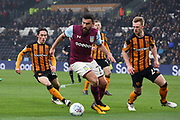 Aston Villa midfielder Robert Snodgrass (7) closely watched by three Hull City defenders during the EFL Sky Bet Championship match between Hull City and Aston Villa at the KCOM Stadium, Kingston upon Hull, England on 31 March 2018. Picture by Mick Atkins.