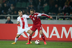 14.11.2014, Boris Paitschadse Nationalstadion, Tiflis, GEO, UEFA Euro Qualifikation, Georgien vs Polen, Gruppe D, im Bild KAMIL GROSICKI UCHA LOBZHANIDZE // during the UEFA EURO 2016 Qualifier group D match between Georgia and Poland at the Boris Paitschadse Nationalstadion in Tiflis, Georgia on 2014/11/14. EXPA Pictures &copy; 2014, PhotoCredit: EXPA/ Newspix/ Piotr Kucza<br /> <br /> *****ATTENTION - for AUT, SLO, CRO, SRB, BIH, MAZ, TUR, SUI, SWE only*****