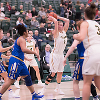 5th year forward Charlotte Kot (1) of the Regina Cougars during the Women's Basketball home game on November 24 at Centre for Kinesiology, Health and Sport. Credit: Arthur Ward/Arthur Images