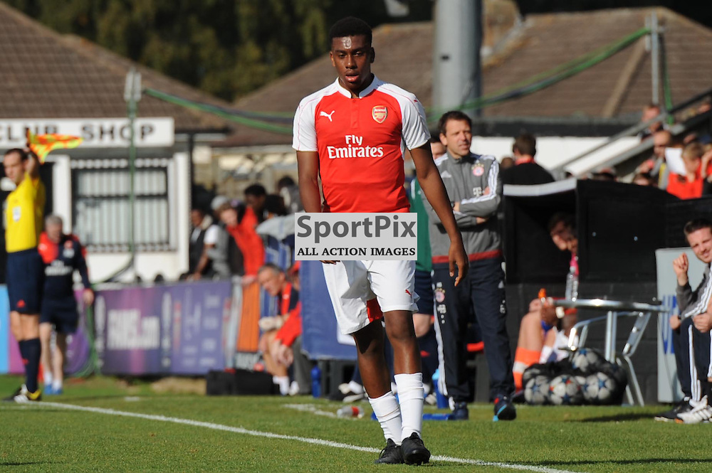 Arsenals Alex Iwobi in action during the Arsenal u19 v Bayern Munich u19 match on Tuesday 20th October 2015 in the UEFA Youth League at Borehamwood