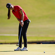 28 March 2018: Mila Chaves attempts a birdie putt on the fifteenth green during the final round of match play against UCLA at it's annual March Mayhem Tournament at the Farms Golf Club in Rancho Santa Fe, California.<br /> More game action at sdsuaztecphotos.com