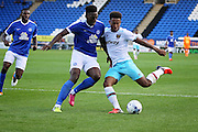 West Ham no 9 Sam Ford gets in a shot during the Pre-Season Friendly match between Peterborough United and West Ham United at London Road, Peterborough, England on 19 July 2016. Photo by Nigel Cole.
