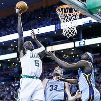 02 January 2013: Boston Celtics power forward Kevin Garnett (5) goes for the skyhook over Memphis Grizzlies center Marc Gasol (33) and Memphis Grizzlies power forward Zach Randolph (50) during the Memphis Grizzlies 93-83 victory over the Boston Celtics at the TD Garden, Boston, Massachusetts, USA.