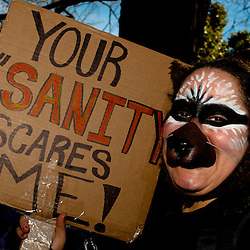 """Washington, DC, October 30, 2010 - Jon Stewert and Steven Colbert host the Rally To Restore Sanity and/or Fear.  Tens of thousands of ralliers donned costumes and carried signs. 'YOUR """"SANITY"""" SCARES ME!"""""""