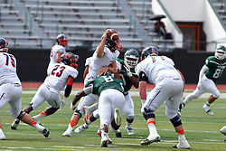 01 October 2016:  Josh Akin wraps up Andrew Bowers during an NCAA division 3 football game between the Wheaton Thunder and the Illinois Wesleyan Titans in Tucci Stadium on Wilder Field, Bloomington IL (Photo by Alan Look)