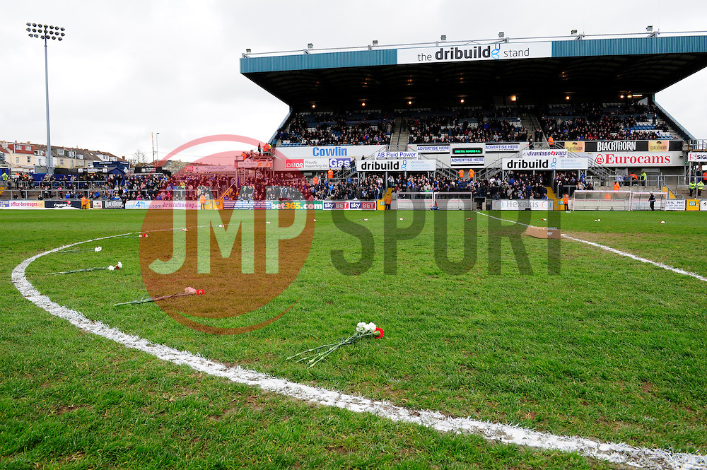 Flowers laid out on the pitch  - Photo mandatory by-line: Dougie Allward/JMP - Mobile: 07966 386802 12/04/2014 - SPORT - FOOTBALL - Bristol - Memorial Stadium - Bristol Rovers v Torquay United - Sky Bet League Two