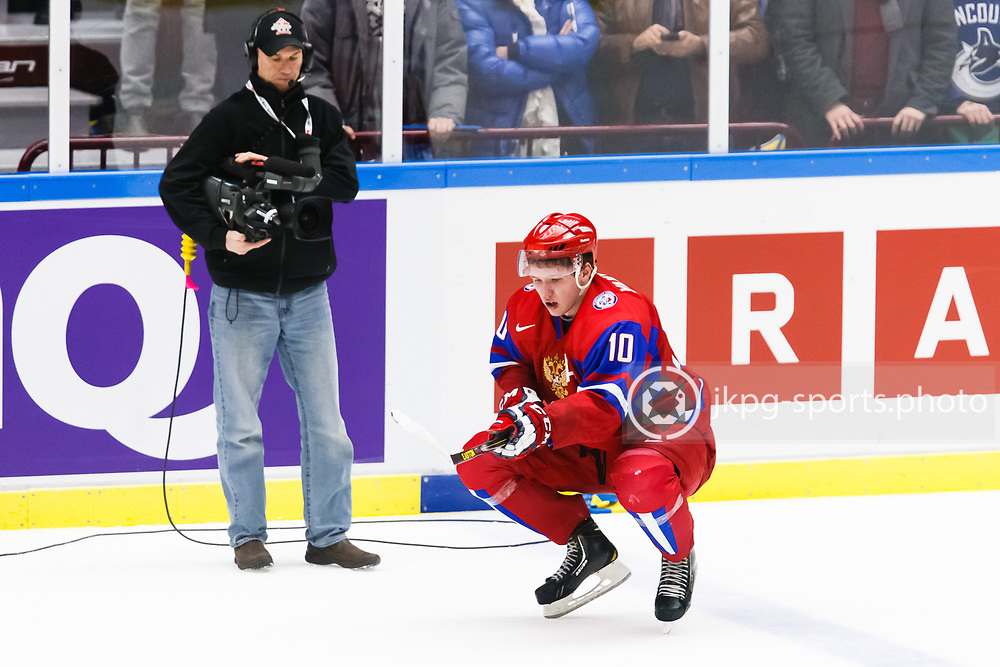 140104 Ishockey, JVM, Semifinal,  Sverige - Ryssland<br /> Icehockey, Junior World Cup, SF, Sweden - Russia.<br /> Bogdan Yakimov, (RUS) sad after the loss.<br /> Endast f&ouml;r redaktionellt bruk.<br /> Editorial use only.<br /> &copy; Daniel Malmberg/Jkpg sports photo
