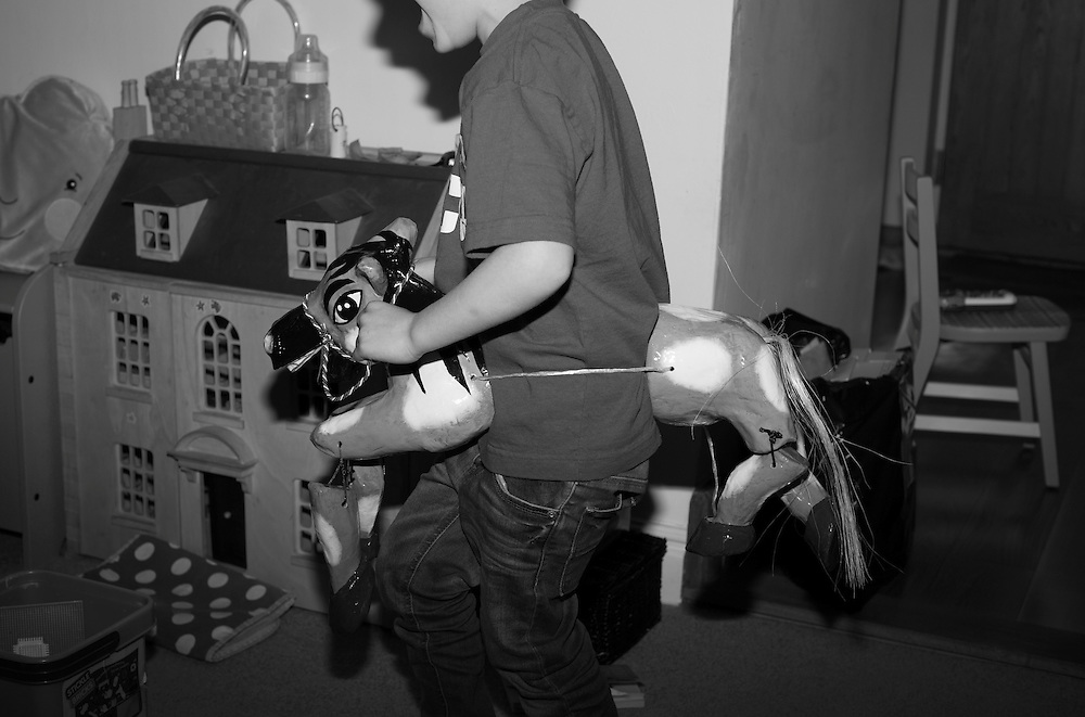 "Ben, aka ""the headless horseman"" plays giddy up with a paper mache horse during a playdate in Bellingdon, England  Tuesday, April 12, 2016 (Elizabeth Dalziel) #thesecretlifeofmothers #bringinguptheboys #dailylife"