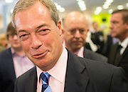 © Licensed to London News Pictures. 27/09/2014. Doncaster, UK. Nigel Farage meets delegates as he tours the exhibition hall. The UKIP conference at Doncaster Racecourse Friday 27th September 2014. Photo credit : Stephen Simpson/LNP