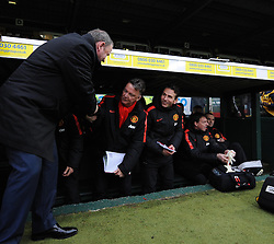 Manchester United Manager, Louis van Gaal  is met by Yeovil Town Manager, Gary Johnson - Photo mandatory by-line: Joe meredith/JMP - Mobile: 07966 386802 - 04/01/2015 - SPORT - football - Yeovil - Huish Park - Yeovil Town v Manchester United - FA Cup - Third Round