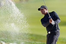 Feb 10, 2012; Pebble Beach CA, USA; Arjun Atwal hits a shot from a sand trap on the first hole during the second round of the AT&T Pebble Beach Pro-Am at Monterey Peninsula Country Club. Mandatory Credit: Jason O. Watson-US PRESSWIRE