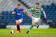 Kai Kennedy (#10) of Rangers FC runs past Paul Kennedy (#6) of Celtic FC during the Scottish FA Youth Cup Final match between Celtic and Rangers at Hampden Park, Glasgow, United Kingdom on 25 April 2019.