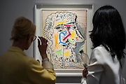 Tete de Homm Barbu by Picasso  in the Van de Wegne Gallery - Frieze Masters 2014 - including a huge range of works from religious relics, through old masters to contemporary art with prices upto millions of pounds. Regents Park, London, 14 Oct 2014.